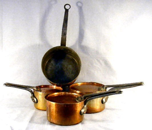 19B: Set of 3 tinned copper pots marked H. Pommier, Bru