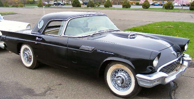 34X: 1957 Black Ford Thunderbird. Power windows, wire w