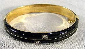 239F Antique enameled 18k gold bracelet Tests as 18k