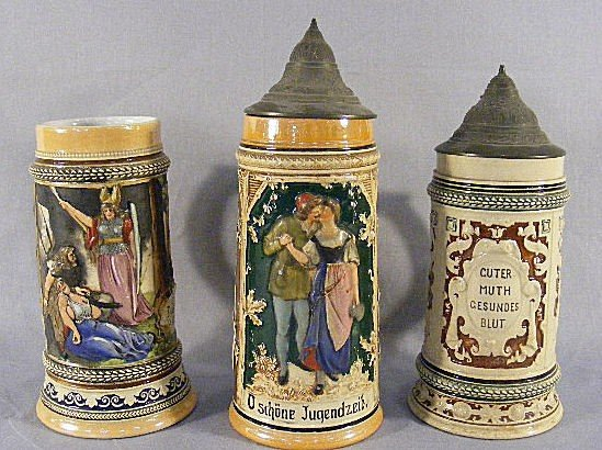 3I: Lot of 3 German 1/2L steins, no chips or cracks