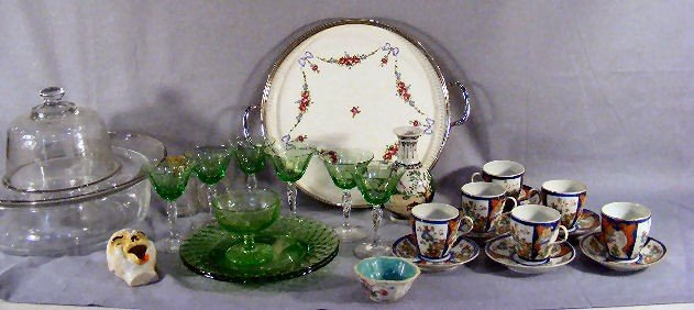 "5P: Lot of misc. depression glass, 12"" pottery tray, Ch"