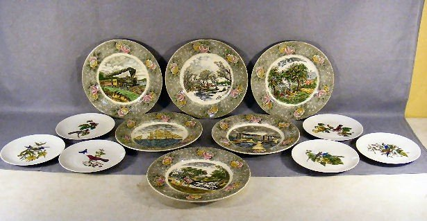 "6P: Set of 6 Adams Currier & Ives 10.5"" plates each wit"