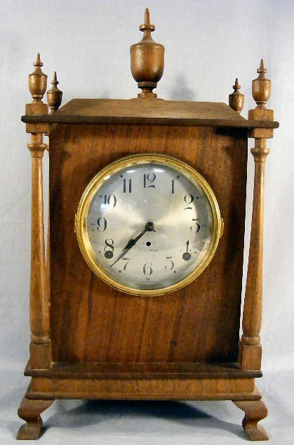16P: Seth Thomas mantel clock mounted in newer mahogany