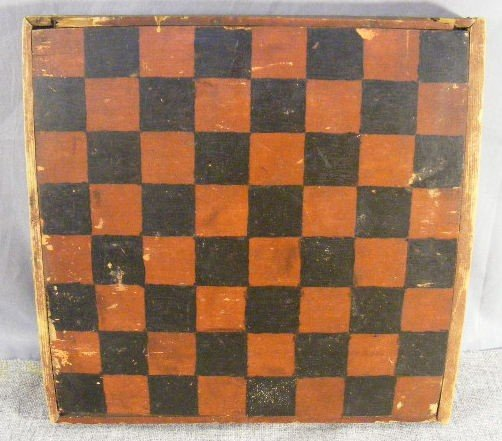 "19P: Antique checker board, old paint, 12.5""X 13"""