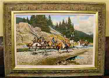 """113Q: Large Frank McCarthy oil painting on canvas """"The"""