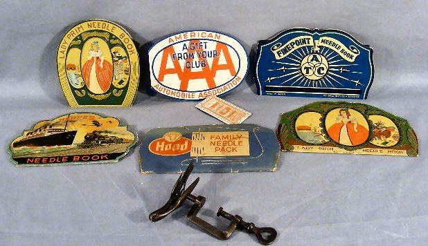 4H: Sewing lot, including iron sewing bird in excellent