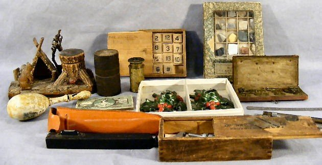 10H: Misc. lot including carved wood inkwell - camp sce