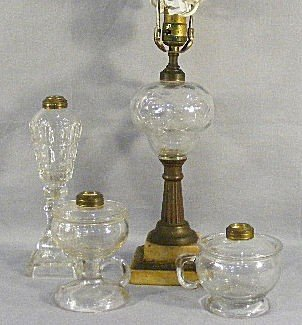 13Q: Lot of four lamps, two oil guard type lamps - unma