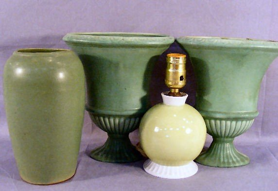 """15Q: Three pottery vases, tallest 9"""" and pottery lamp b"""