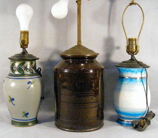 16Q: Three pottery lamps, one with chip on base