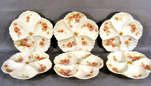 18E: Six AL Limoges oyster plates, all in excellent con