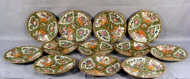 """20E: 12 - 7"""" Chinese Rose Medallion plates, one with ch"""