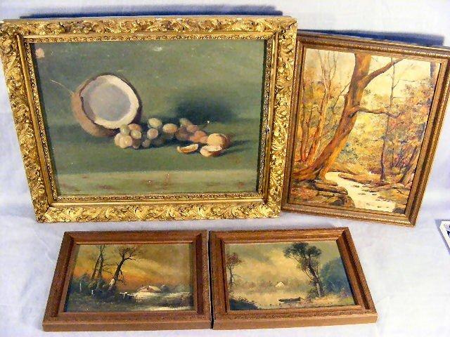 22H: Lot of 4 19th century oil paintings, o/c still lif