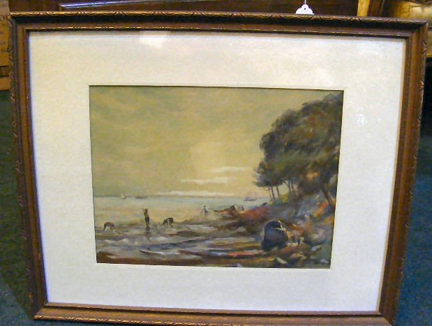 """23H: Unsigned watercolor painting of shore scene, 13"""" X"""