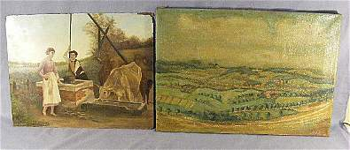 131P: 2 oil paintings, O/C impressionists land scape si