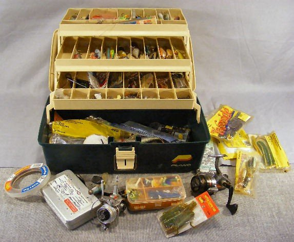 4F: Plano fishing tackle box with misc. lures & baits,