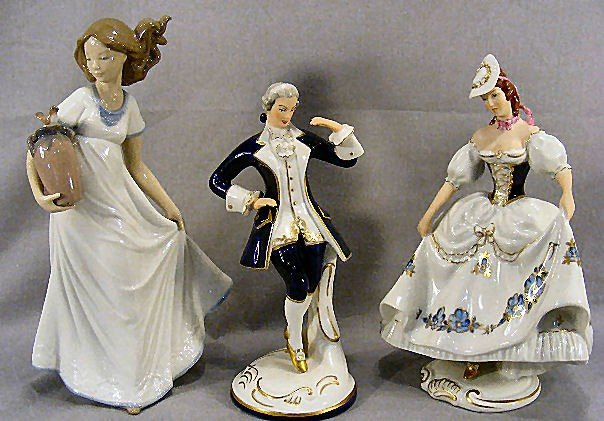 "5H: Lot of 3 figurines, 11.25"" NAO  and 2 Royal Dux, no"