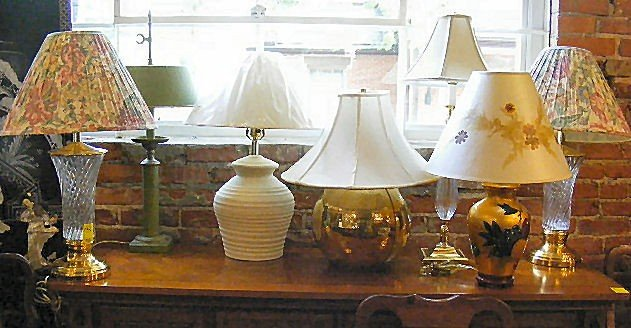 "12H: Lot of 7 contemporary lamps, tallest is 31"" high,"