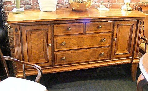 17H: Alexander Julian inlaid sideboard, four drawers, 6