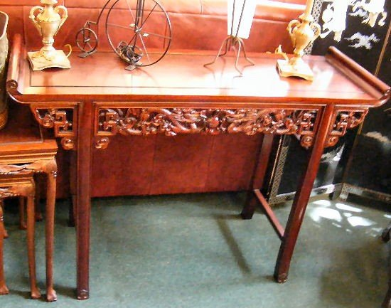 "19H: Chinese styled console table, 49"" long, 16"" wide a"