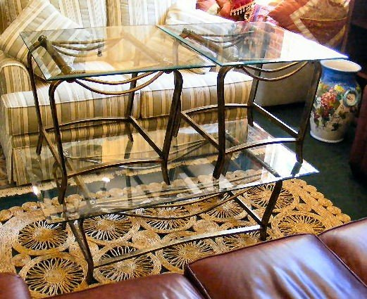 22H: Glass top end tables and coffee table. Stands meas