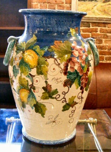 "23H: Large Italian hand painted majolica vase, 22"" high"