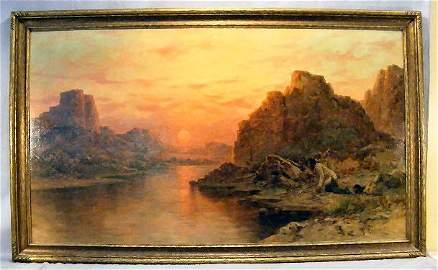 80J: Henry Raschen oil painting on canvas, native Ameri