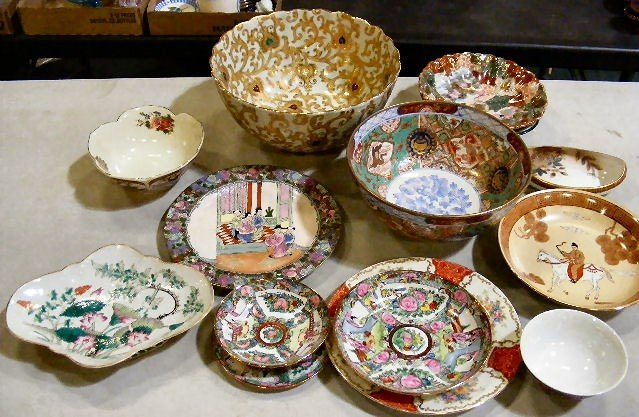 79G: Lot of misc. Asian bowls, plates, Nippon dish