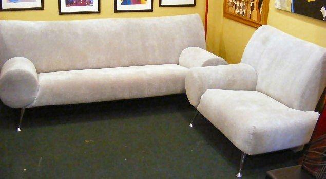 119G: Tundra silver sofa & love seat by Escapade, funky