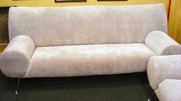 119G: Tundra silver sofa & love seat by Escapade, funky - 3