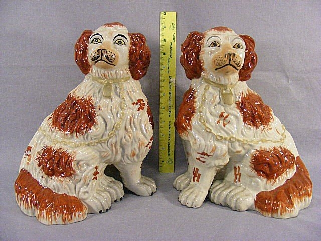 1L: Pair of Staffordshire spaniels, hand decorated, 11.