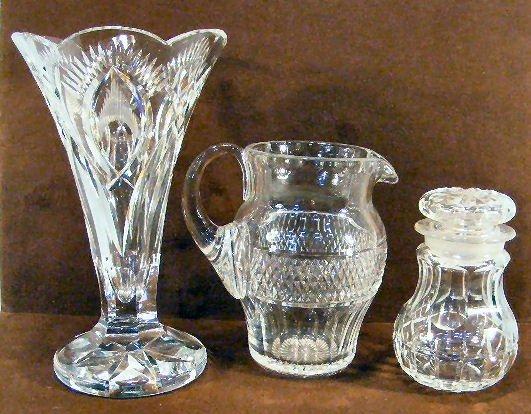 "2L: Cut glass dresser jar, 6.75"" cut glass pitcher mark"
