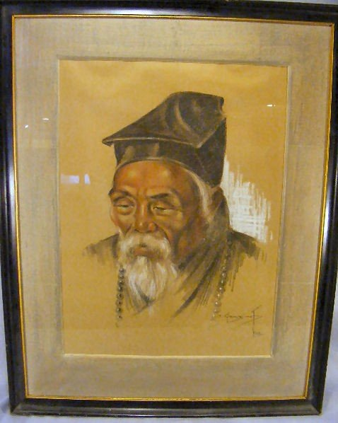 10A: Asian portrait drawing of a man. Frame size is 29""