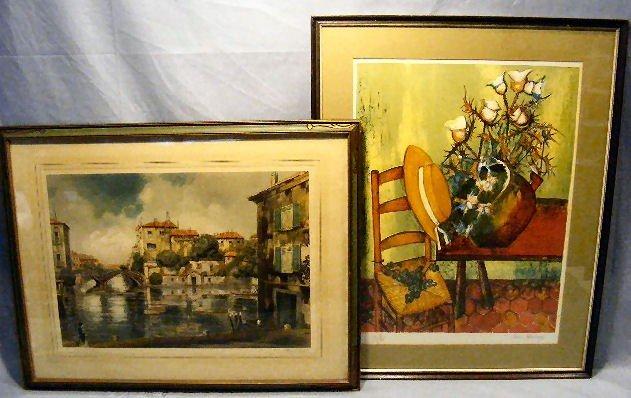 12A: 2 prints, Venice scene by Claude Dorval & interior