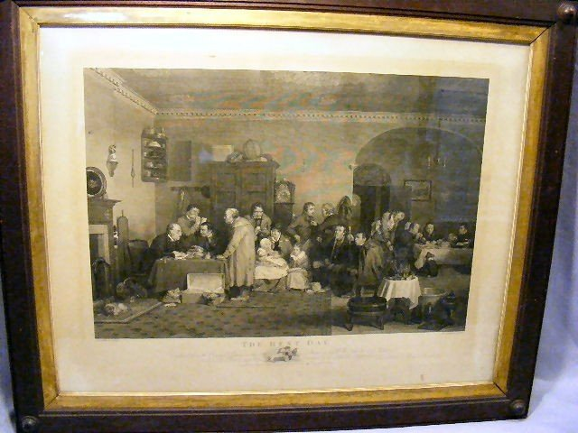 13A: Steel engraving dated 1817,  The Rent Day, publish