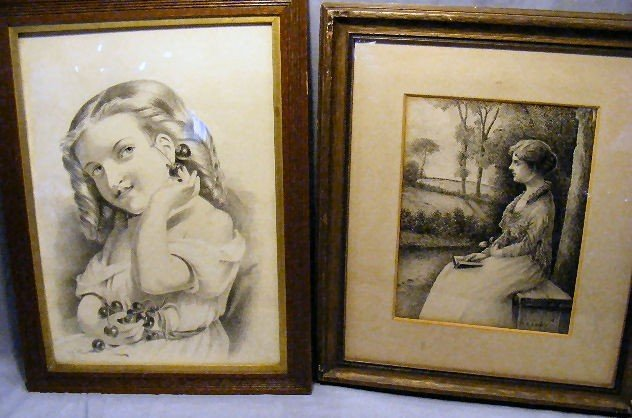 14A: 2 framed drawings, Victorian girl dated 1881by  Ne