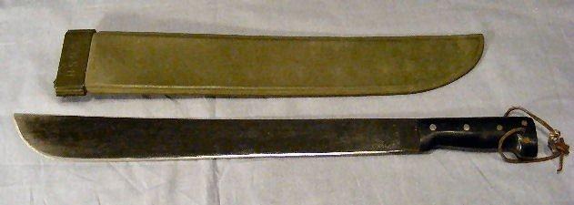 "15A: USMC machete w/ case,  1945. Sharpened. 23.75"" ove"