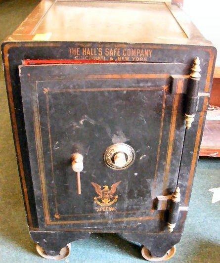 """16P: Hall Safe Company safe, 1906, 32.5"""" tall x 22.5"""" d"""