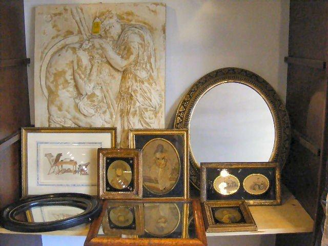"""17L: 9pc art lot, plaster Roman plaque. 22.25"""" x 32.5"""""""