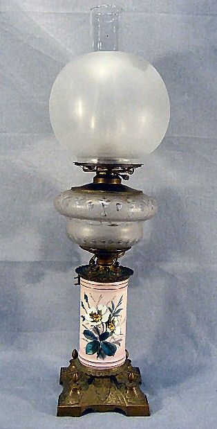 Victorian brass & cut glass oil lamp, electrified,