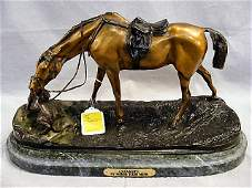 75S Bronze statue Quarrel by Pierre Jules Mene hor