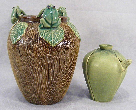"""1I: Two Chinese vases with frog motif 8"""" majolica glaze"""