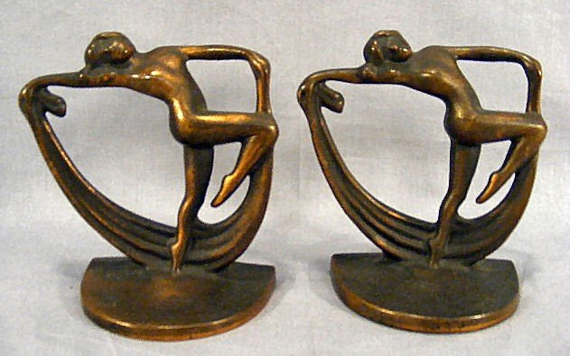 3I: Pair of bronzed iron Art Deco bookends, dancing nud