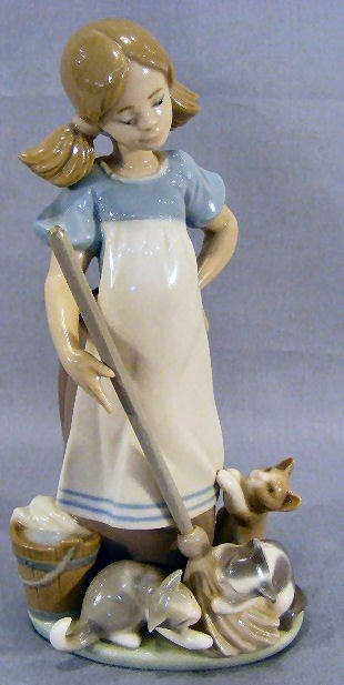 """7Z: Lladro figurine, 8.25"""" high, girl with cats and bro"""