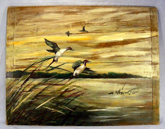 """8I: Painting of duck & marsh, painted on wood, 33"""" wide"""