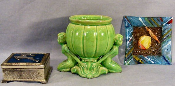 """10I: Lot including art deco styled pottery planter 6"""" h"""