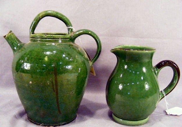 13Z: Antique French pottery pitcher, green glaze, chip