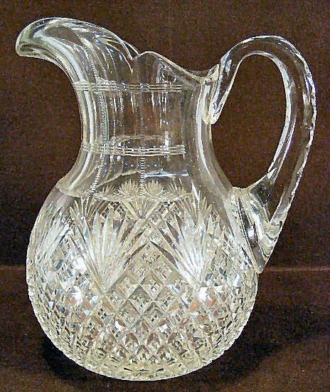 14Z: American brilliant period cut glass water pitcher,