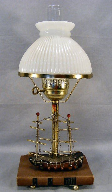 """15G: Table lamp, book on ship, 20"""" high to top of chimn"""
