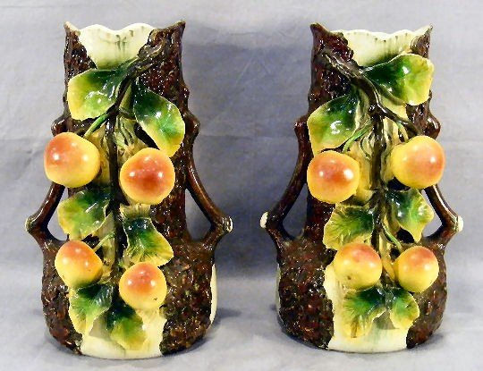 """17Z: Pair of 13"""" vases with apples & leaves in heavy re"""